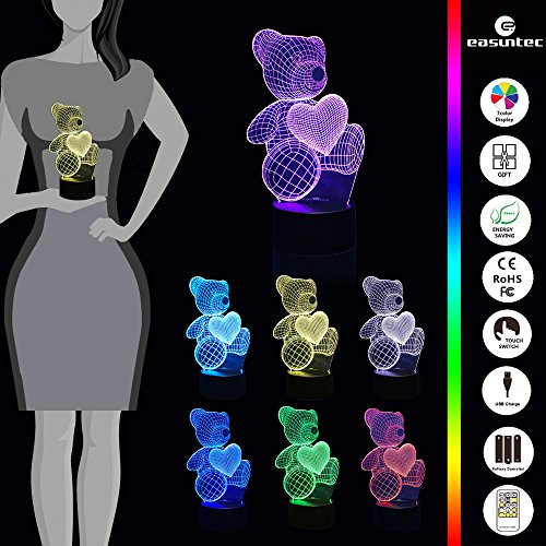 Night Lights for Kids Teddy Bear 7 Colors Change with Remote 3D Nightlight Help Kids Fell Safe at Night or As A Gift Idea for Women or Girls by Easuntec (Teddy Bear Heart) by Easuntec (Image #2)