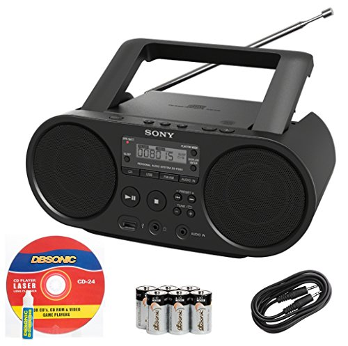 Sony Portable Full Range Stereo Boombox Sound System with MP3 CD Player, AM/FM Radio, 30 Presets, USB Input, Headphone & AUX Jack + DB Sonic AUX Cable, Head Cleaner & Batteries