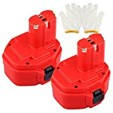 COCO-VISION 2 Pack Replacement Makita 14.4v 2000mah Ni-CD Power Tool Battery for Makita 1420 1422 192600-1 193985-8 6233dwae 6333dwae, 14.4 Volt 2.0ah Ni-CD