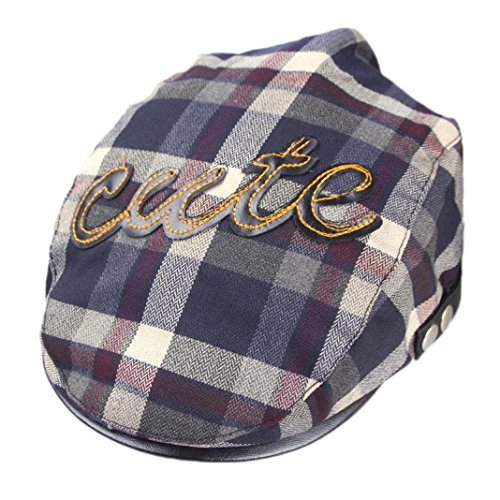 (Voberry Baby Boy Kids Toddler Plaid Beret Cabbie Flat Peaked Hat River Cap (D))