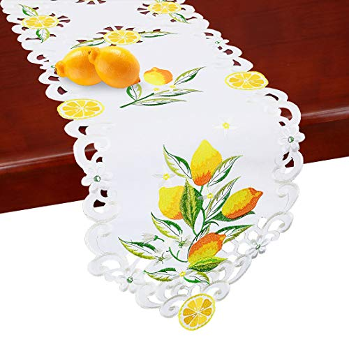 Simhomsen Embroidered Lemon Table Runners, Table Decors for Spring and Summer (14 × 88 Inch)