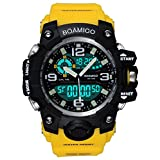 BOAMIGO Men Sports Watch Multifunction Digital Analog Quartz Wristwatches Waterproof Yellow F502