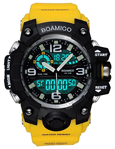 BOAMIGO Men Sports Watch Multifunction Digital Analog Quartz Wristwatches Waterproof Yellow F502