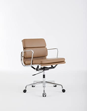 eames style office chairs. Charles Eames Style Low Back Soft Pad Office Chair - Tan Leather Chairs