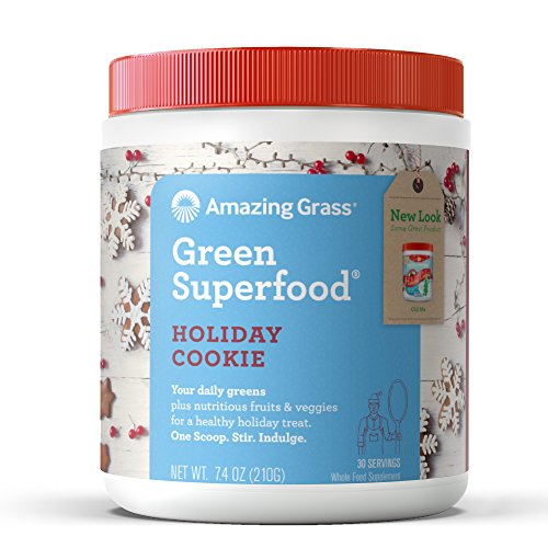 Christmas Holiday Cookie (Amazing Grass Green Superfood Organic Powder with Wheat Grass and Greens, Flavor: Holiday Cookie, 30 Servings)