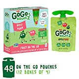 GoGo squeeZ Applesauce on the Go, Apple Peach, 3.2 Ounce (48 Pouches), Gluten Free, Vegan Friendly, Healthy Snacks, Unsweetened Applesauce, Recloseable, BPA Free Pouches