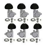 Yibuy Zinc Alloy Silver Sealed Electric Folk Guitar Machine Head Tuning Pegs Locking Tuners 3L 3R 18:1