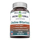 Amazing Nutrition Choline Bitartrate - 650 MG, 180 Tablets – Supports Nerve & Brain Health - Promotes Cellular Function - Cognitive Support