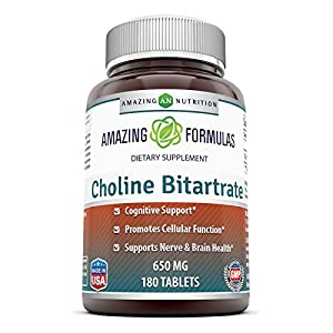 Amazing Formulas Choline Bitartrate 650 MG, 180 Tablets – Supports Nerve & Brain Health Promotes Cellular Function Cognitive Support