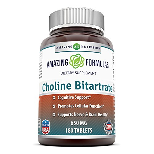 Amazing Nutrition Choline Bitartrate 650 MG, 180 Tablets – Supports Nerve & Brain Health Promotes Cellular Function Cognitive Support