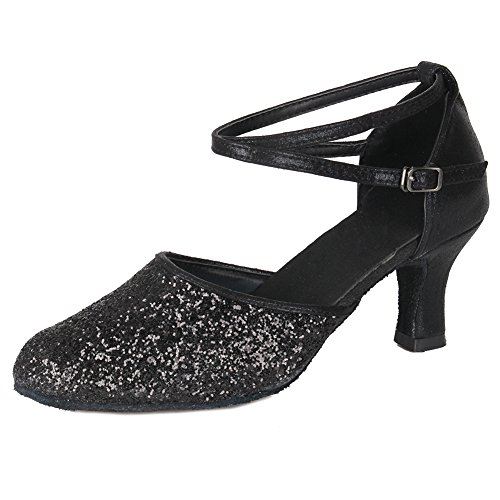 Ballroom Shoes Black Latin Salsa Party Women's Roymall Fashion 7CM 6 Shoes Dance MF1802 Performance Model Glitter Tango 0gTnq