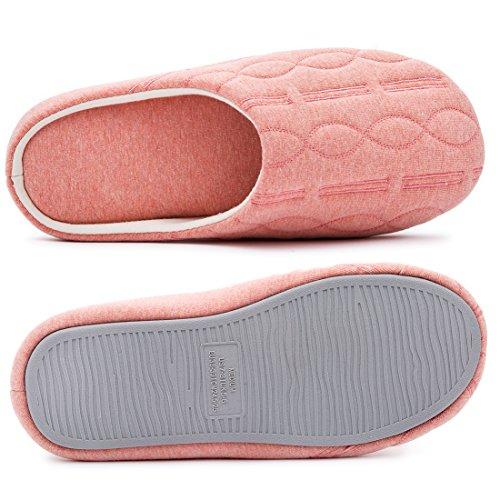 Pantofole Da Donna In Memory Foam Trapuntate Cotone Con Ricamo Elegante  Rosa Corallo ... ec483542221