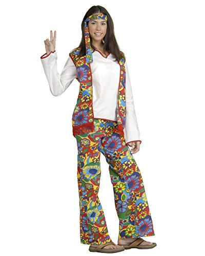 Womens Classic Hippie Costume Couples Theatre 60s 70s Flower Power Love Child Sizes: One Size ()