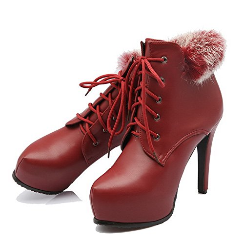 Heels Women's High Knot Toe PU with Solid up Lace Boots Claret Round Allhqfashion Closed Hn1xfqwdn