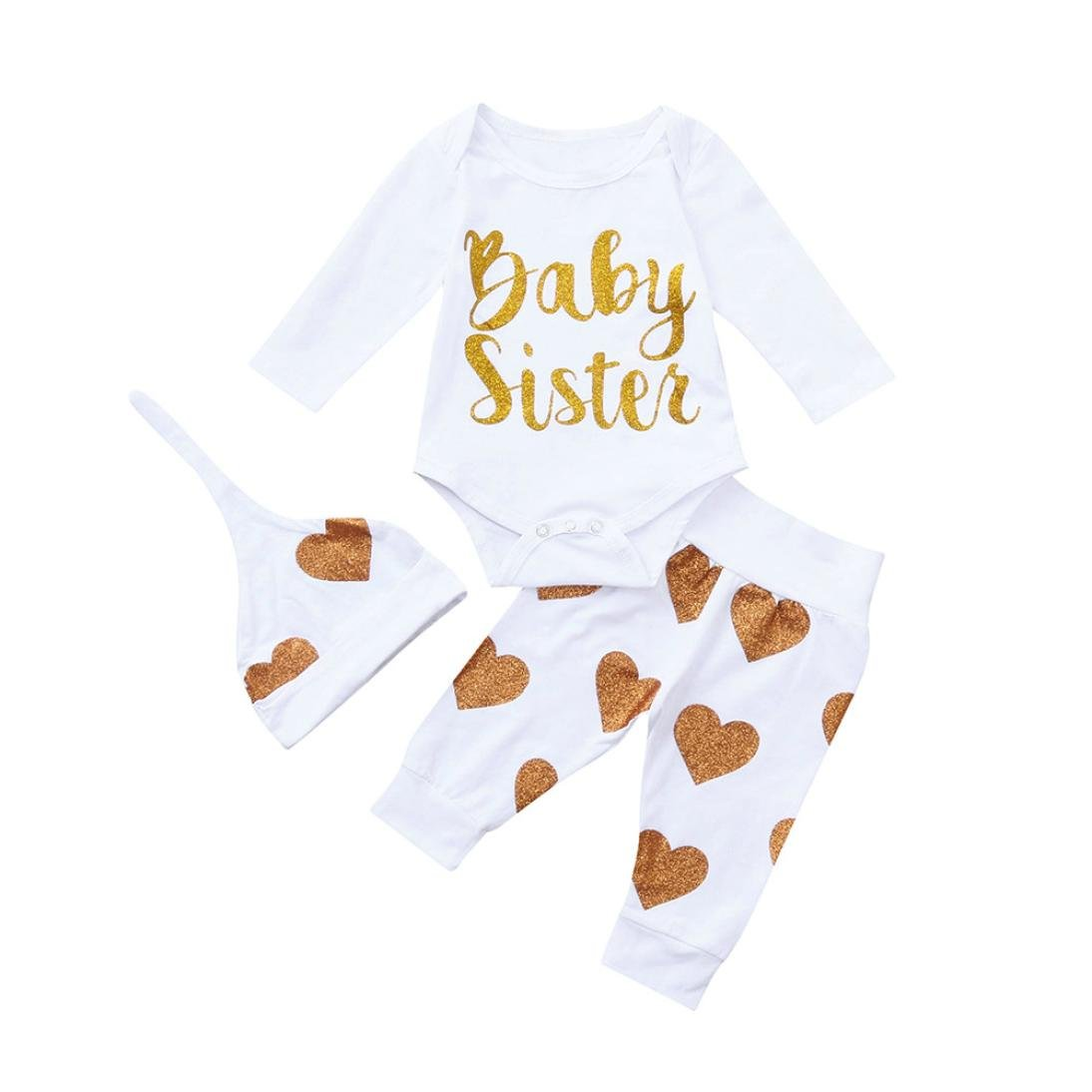 Newborn Letter Romper Sets,Jchen(TM) Newborn Baby Boys Girls Long Sleeve Letter Baby Sister Romper Tops+Heart Print Pant + Hat Autumn Outfits for 0-24 Months (Age: 18-24 Months)
