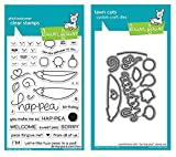 Lawn Fawn Be Hap-Pea 4''x6'' Clear Stamps and Matching Lawn Cuts Die Set (LF1890, LF1891), Bundle of Two Items
