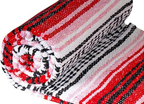 El Paso Designs Genuine Mexican Falsa Blanket - Yoga Studio Blanket, Colorful, Soft Woven Serape Imported from Mexico (Cherry) by El Paso Designs (Image #3)