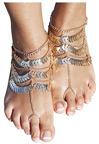5th Avenue At Christmas - Women's Lady's 2 Piece Golden Multi layer Foot Chain Anklet Barefoot Sandals Beach Foot Jewelry, Gold