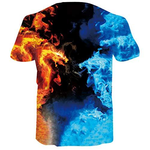 RAISEVERN Frescos Carnival T Shirts Summer Sports Corrientes Superiores Tees Ropa para Hombres de Manga Corta, Banda de Colores