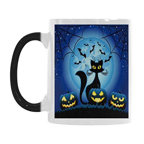 InterestPrint Halloween Pumpkin Black Cat and Bat Spider Web 11oz Heat Sensitive Color Changing Morphing Coffee Mug Tea Cup Travel, Funny Unique Thanksgiving Birthday Gift for Men Women Him Her ()