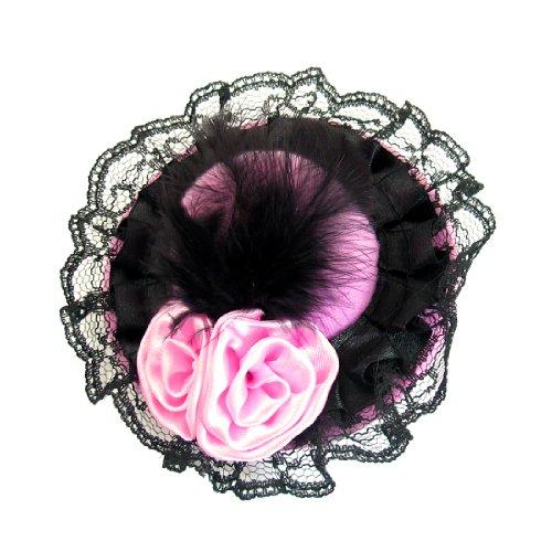 Rosallini Women Pink Double Flowers Black Feather Decor Lace Edge Mini Top Hat Hairclip (Mini Hat With Veil)