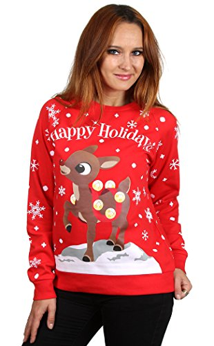 Rudolph Women's All Over Print Ugly Chrismas Sweatshirt -Large (Rudolph Christmas Sweater)