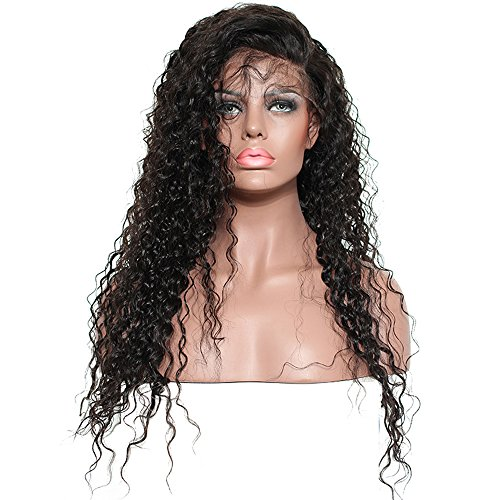Brazilian Remy Hair 130% Density Full Pre Plucked Natural Hairline Loose Deep Curly Long Human Hair Lace Front Wigs for African American Black Women Black Women with Baby Hair 14inch by Sarah Wig (Image #2)