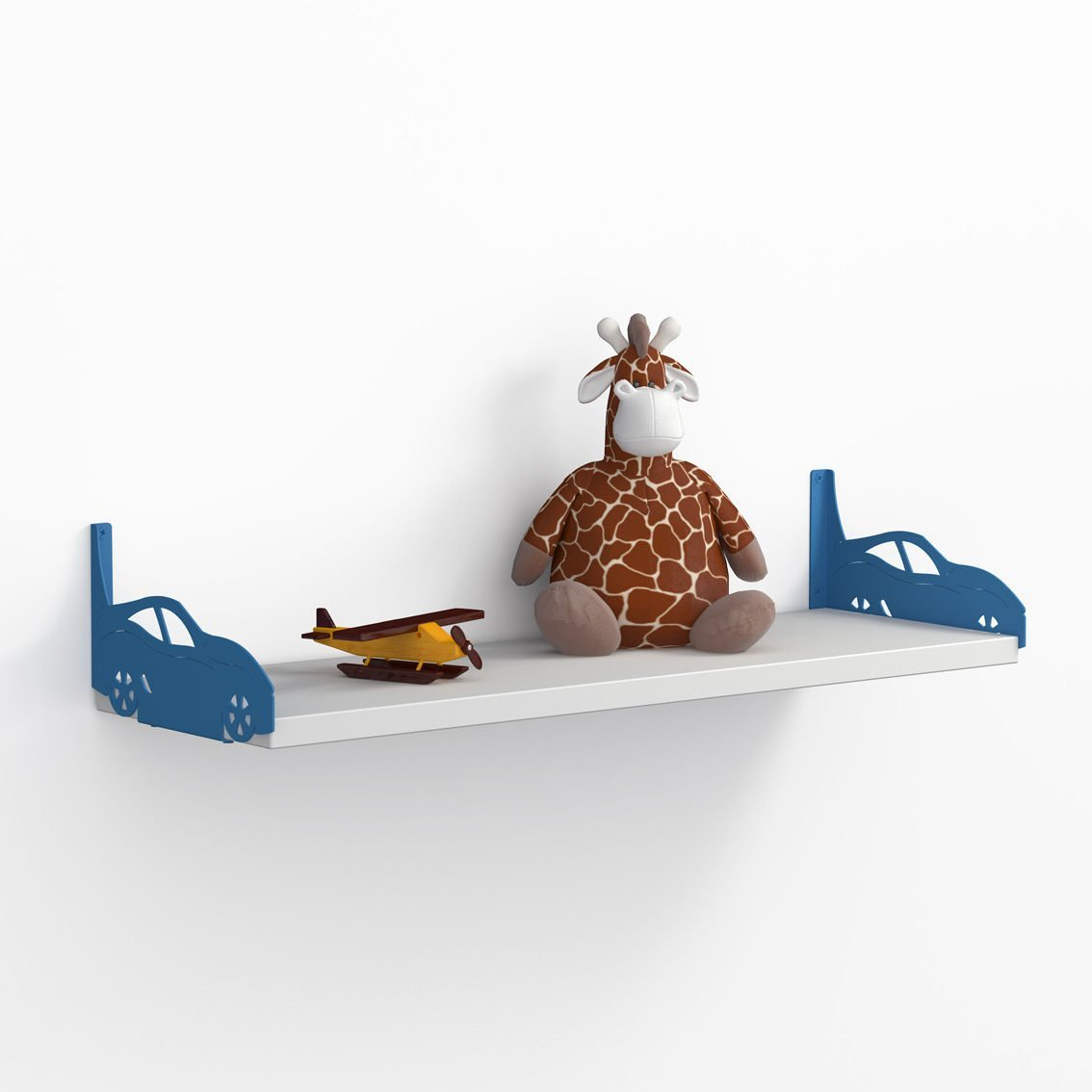 LaModaHome Blue Sport Cars Wall Shelf, 100% Melamine Coated Particle Board - Size (23.6'' x 7.9'' x 7.9''), Easy to Hang with Invisible Brackets, Wall Mounted Floating Shelves for Home & Office