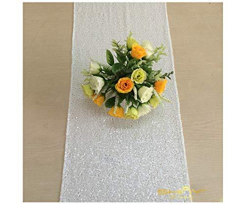White Glitter Runner Pack of 1 Table Cover 12x72-Inch Sequin Table Runner~0103E