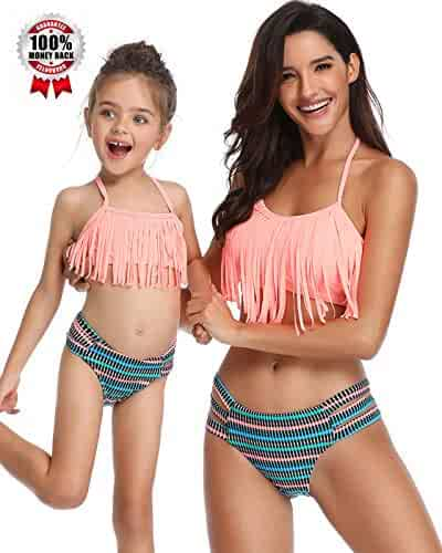 7d1bfee7c46cf Swimsuits for Girls Women Bathing Suit Tassels Family Matching Swimsuits  Mom and Daughter Swimwear Bikini
