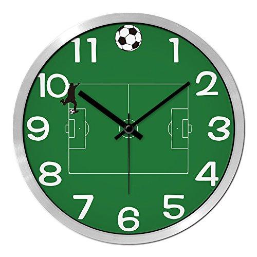 Znzbzt Simple Creative Mute Wall Clock Green Ground Soccer Personalized Wall Clock Living Room Bedroom Ideas Modern Silent Clocks Clock Quartz Clock Wall Chart, 12-inch
