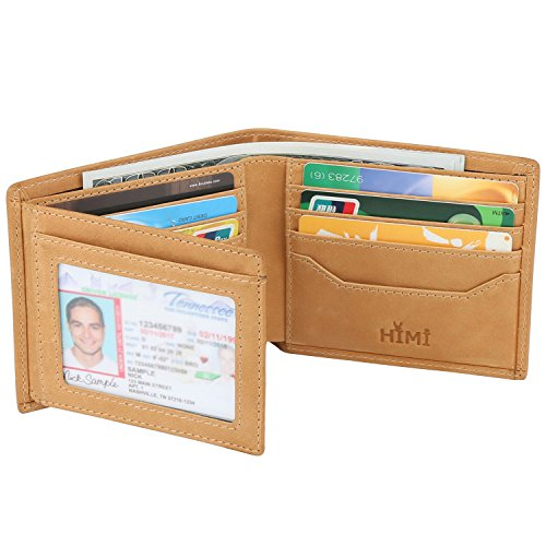 Wallets for Men - RFID Blocking Trifold Genuine Leather Wallet With 2 ID Window (Vintage Tan)