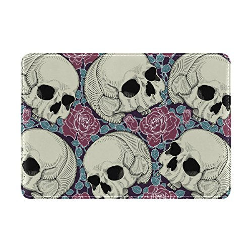 COOSUNSkulls And Roses Leder Reisepasshülle für Travel One Pocket
