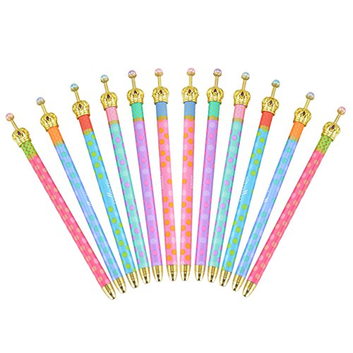 12 Pack Gel Ink Crown Pens Lovely Cute Colorful Polka Dots Korean Style Rollerball Roller Ball Pen Fine Point Creative Stationery for School Office Family Use,Black Ink
