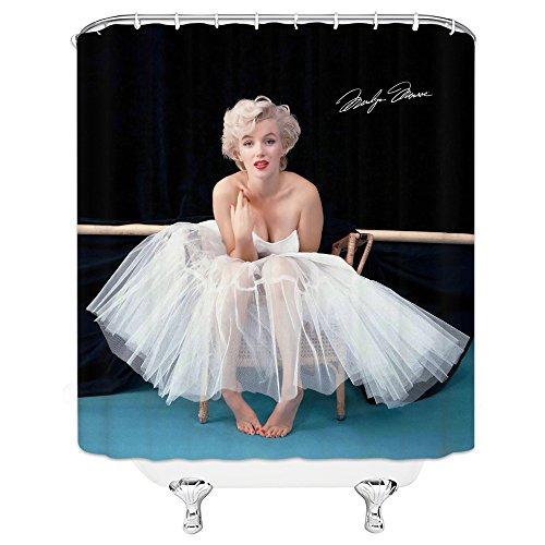 AMFD Sexy Marilyn Monroe Shower Curtain Exquisite Sexy Female Model Bathroom Decor 70 x 70 Inches Waterproof Mildew Polyester Fabric Include Hooks Black ()