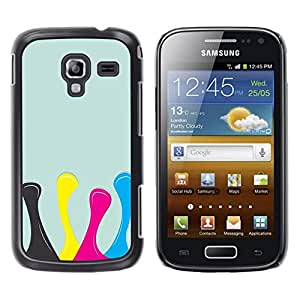 LECELL -- Funda protectora / Cubierta / Piel For Samsung Galaxy Ace 2 I8160 Ace II X S7560M -- Design Yellow Pink Blue --