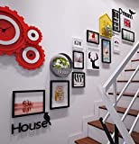 Onfly 12 Picture Frame Staircase Wall Decoration Mural Combination,Solid Wood Frame,Acrylic 3D Letters Wall Sticker+Rack + Iron Flower Basket (without Ornament)