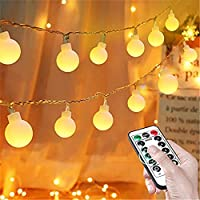 Globe String Lights, Fairy Lights Battery Powered 8M 80 LEDs with Remote, Outdoor Indoor Festoon Lights for Bedroom...