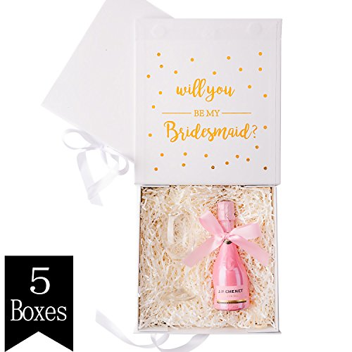 Crisky White Bridesmaid Proposal Box with Gold Foiled Text | Set of 5 Empty Boxes | Perfect for Will You Be My Bridesmaid Gift and Wedding Present ()