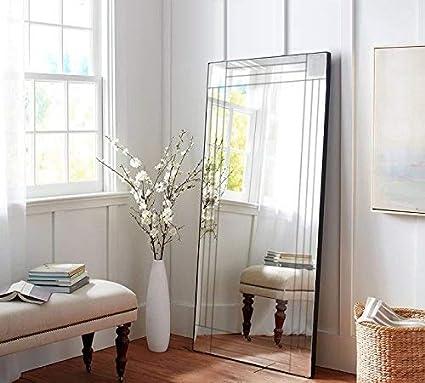 100 cm x 70 cm Cottonage Specchio da Parete in Stile Veneziano con Tripla smussatura Colore Argento