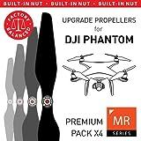 MAS Upgrade Propellers for DJI Phantom with Built-in Nut in Black - x4 in Set