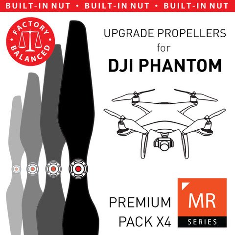 MAS Upgrade Propellers for DJI Phantom with Built-in Nut in Black - x4 in Set