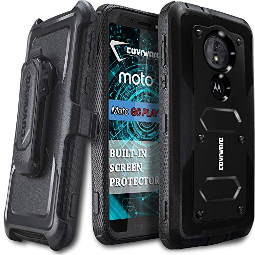 Moto G6 Play/Moto E5 (XT1920DL) Case (NOT FIT Moto G6), COVRWARE [ Aegis Series ] Case Built-in [Screen Protector] Heavy Duty Full-Body Rugged Holster Armor Case [Belt Swivel Clip][Kickstand], Black