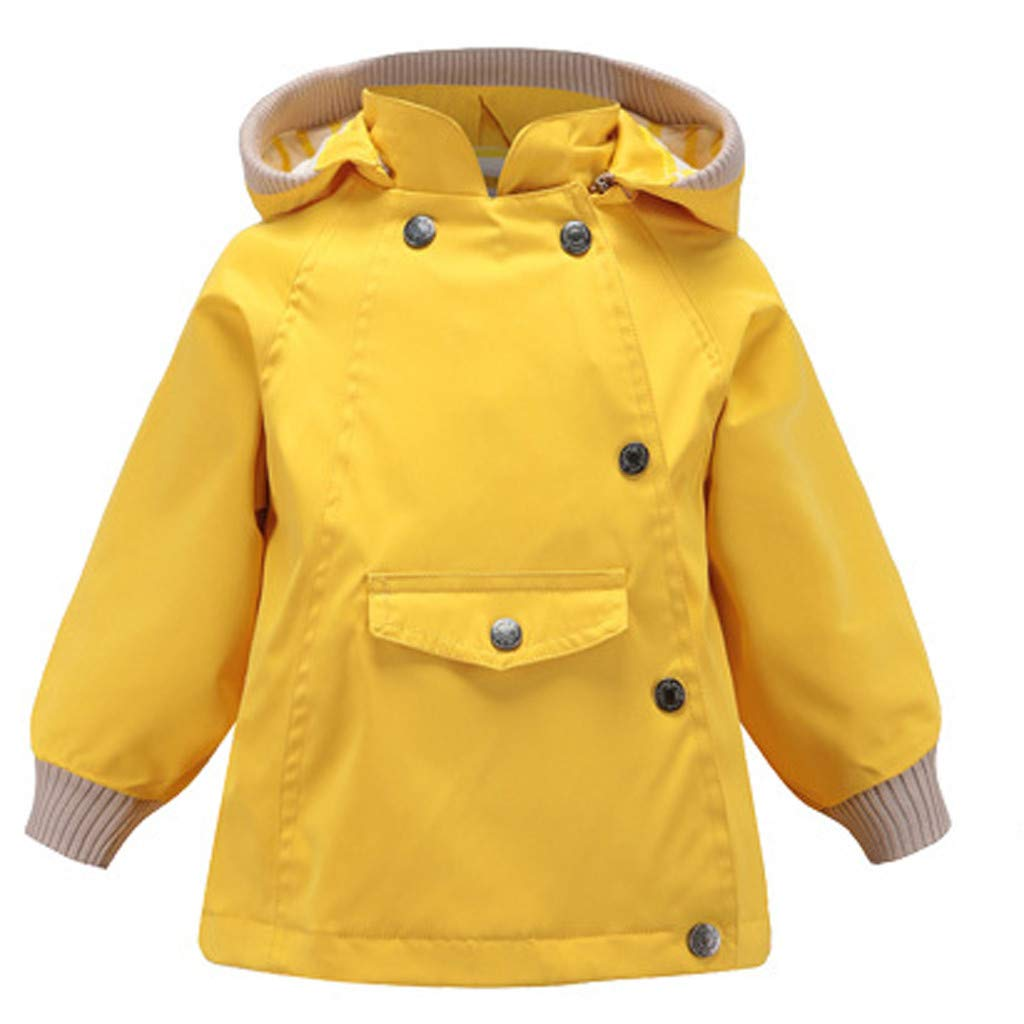 BFYOU Toddler Kid Baby Boy Cartoon Animal Hooded Coat Jacket Outwear Windproof Outfits Yellow by BFYOU_ Girl Clothing