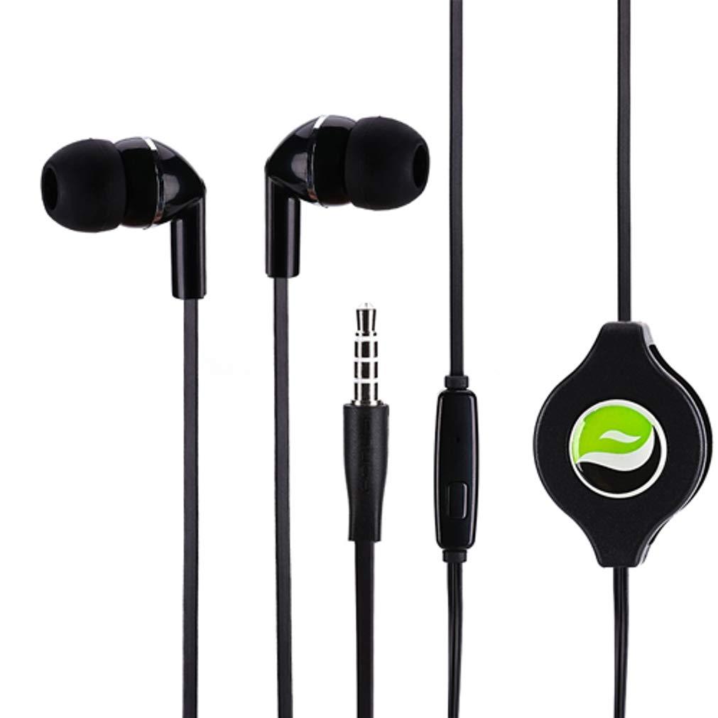 プレミアム サウンド 格納式ヘッドセット ハンズフリー イヤホン マイク イヤホン ヘッドホン 有線 [3.5mm] ブラック Motorola One、Moto Z2 Play X4 G6 Play G5 Plus (XT1687) G4 Play E5 Play L2Bと互換性あり   B07KWZCC59