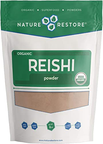 USDA Certified Organic Red Reishi Mushroom Powder, 8 Ounces, Non GMO, Gluten Free, Packaged in California, Ganoderma Lucidum Lingzhi