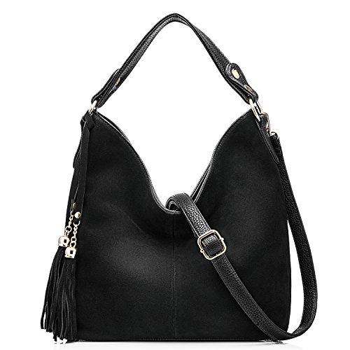 Women Leather Tote Bag (Black) - 8