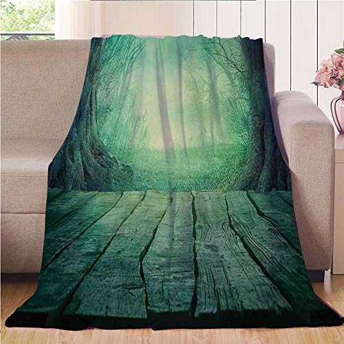 Throw Blanket Super soft and Cozy Fleece Blanket Perfect for Couch Sofa or bed,Gothic,Spooky Scary Dark Fog Forest with Dead Trees and Wooden Table Halloween Horror Theme Print,Blue,47.25