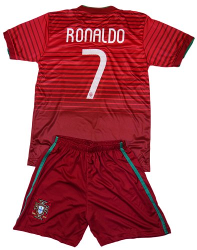 FWC 2014 Portugal Kids Home Jersey & Short #7 RONALDO Youth Sizes