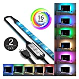 under cabinet hdtv - Hunzed LED Lights, 2Pcs { USB Powered LED Light } { RGB 5050 LED Strip Light } { TV Computer Background Light } Bedroom Home Decor